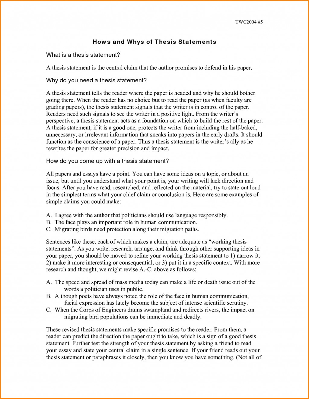 012 Essay Example Thesis Statement Examples For Essays How To Write Unique A An Exploratory Opinion Informative Large
