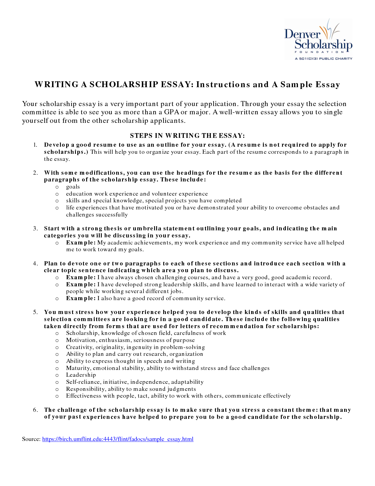 012 Essay Example Tips For Writing Scholarship Essays