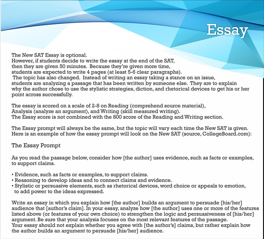 012 Essay Example What Colleges Require Formidable Sat 868