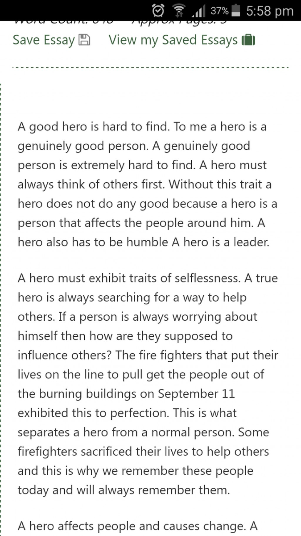 012 Essay Example What Makes Hero Formidable A Is Examples Large