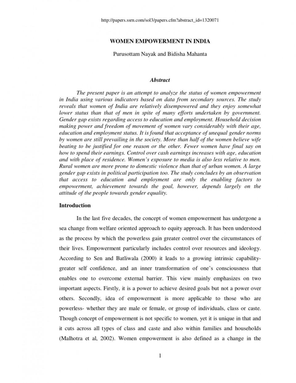 Gender Equality & Women Empowerment Essay