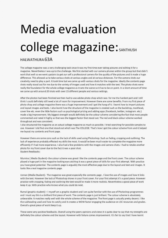 012 Evaluation Argument Essay Example Mediaevaluationcollegemagazine Page 1 Shocking 1920