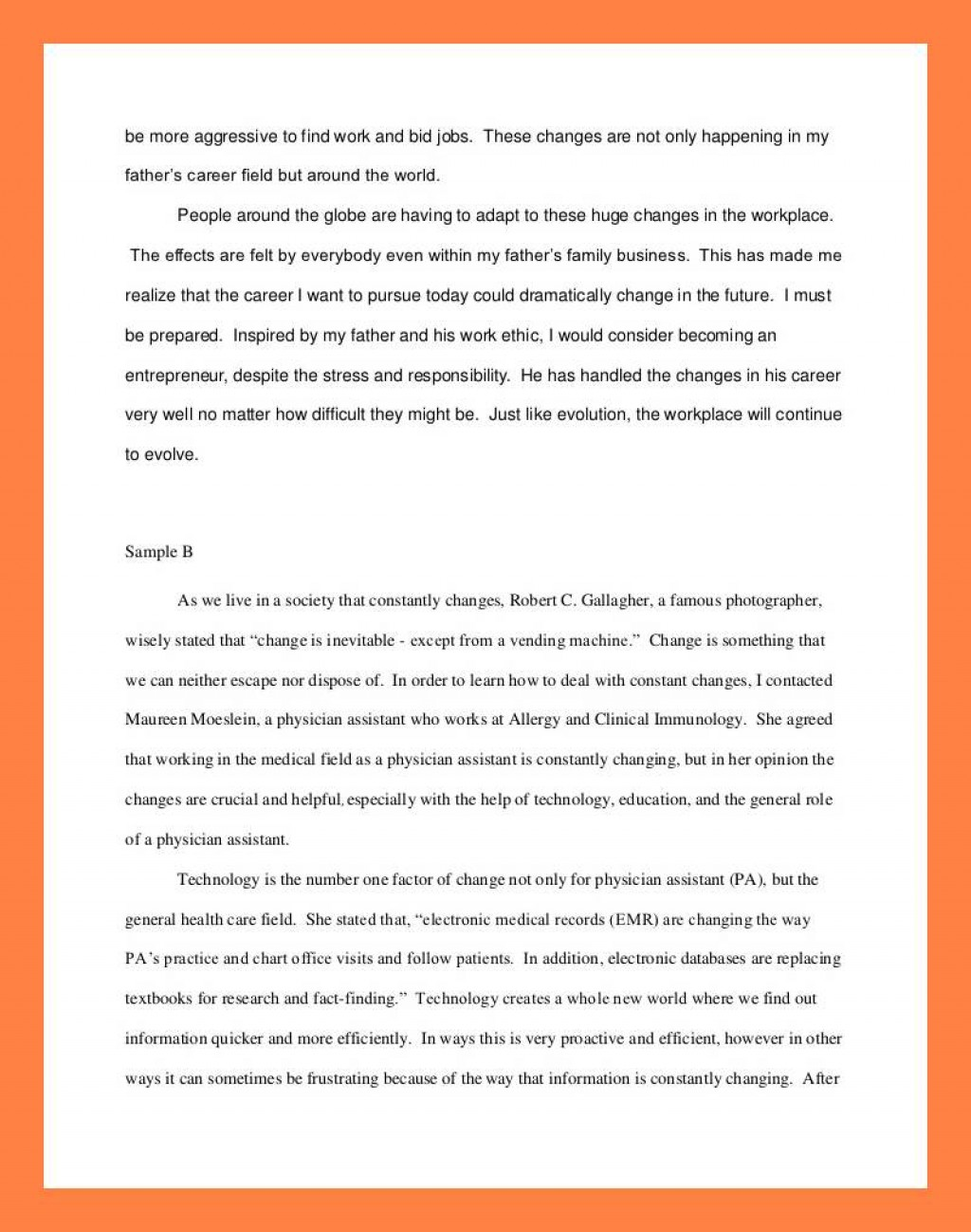 012 Interview Essay Example Examples Of Student Reflections Shocking Paper Format Apa Mla Large
