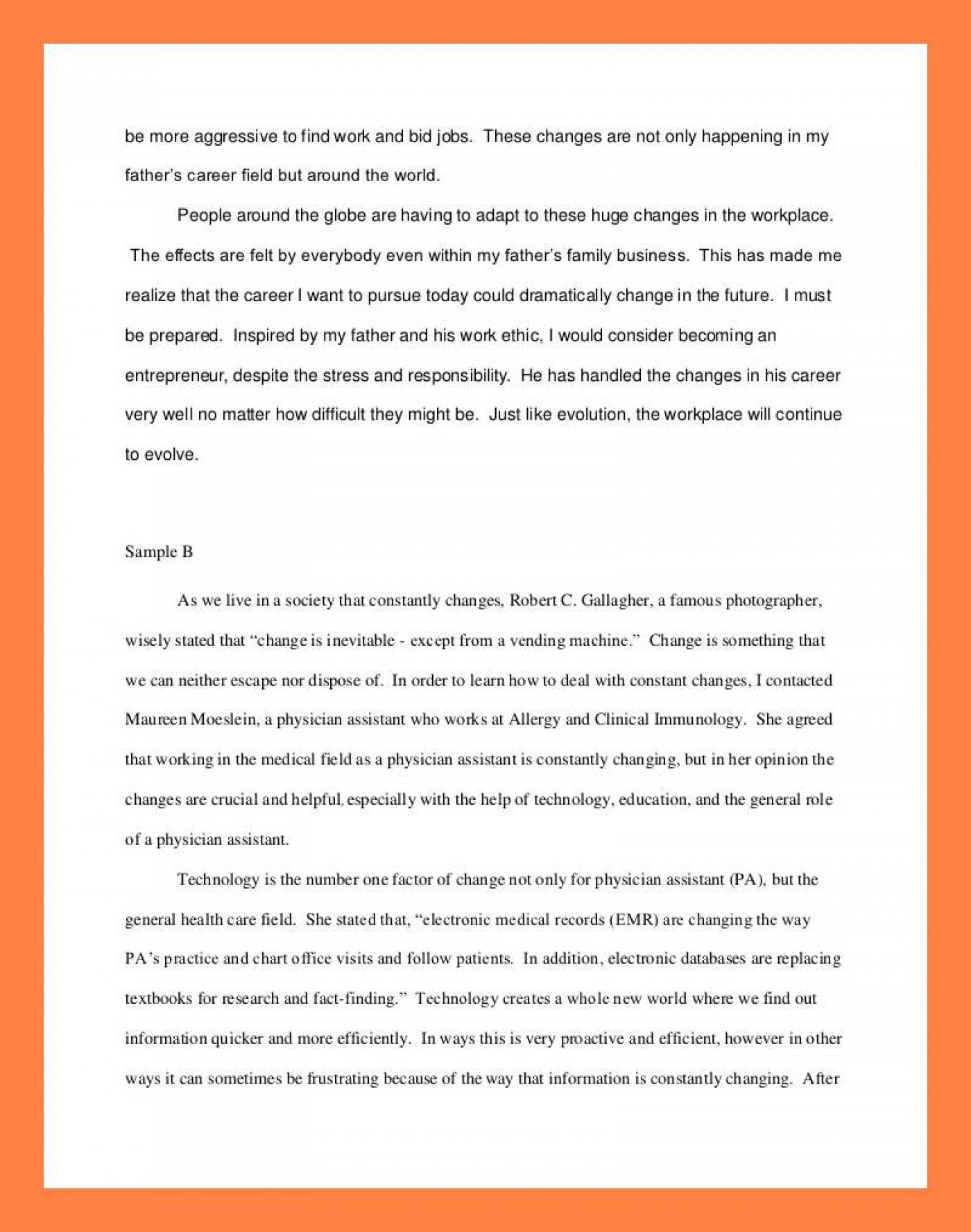 012 Interview Essay Example Examples Of Student Reflections Shocking Paper Format Apa Mla 1400
