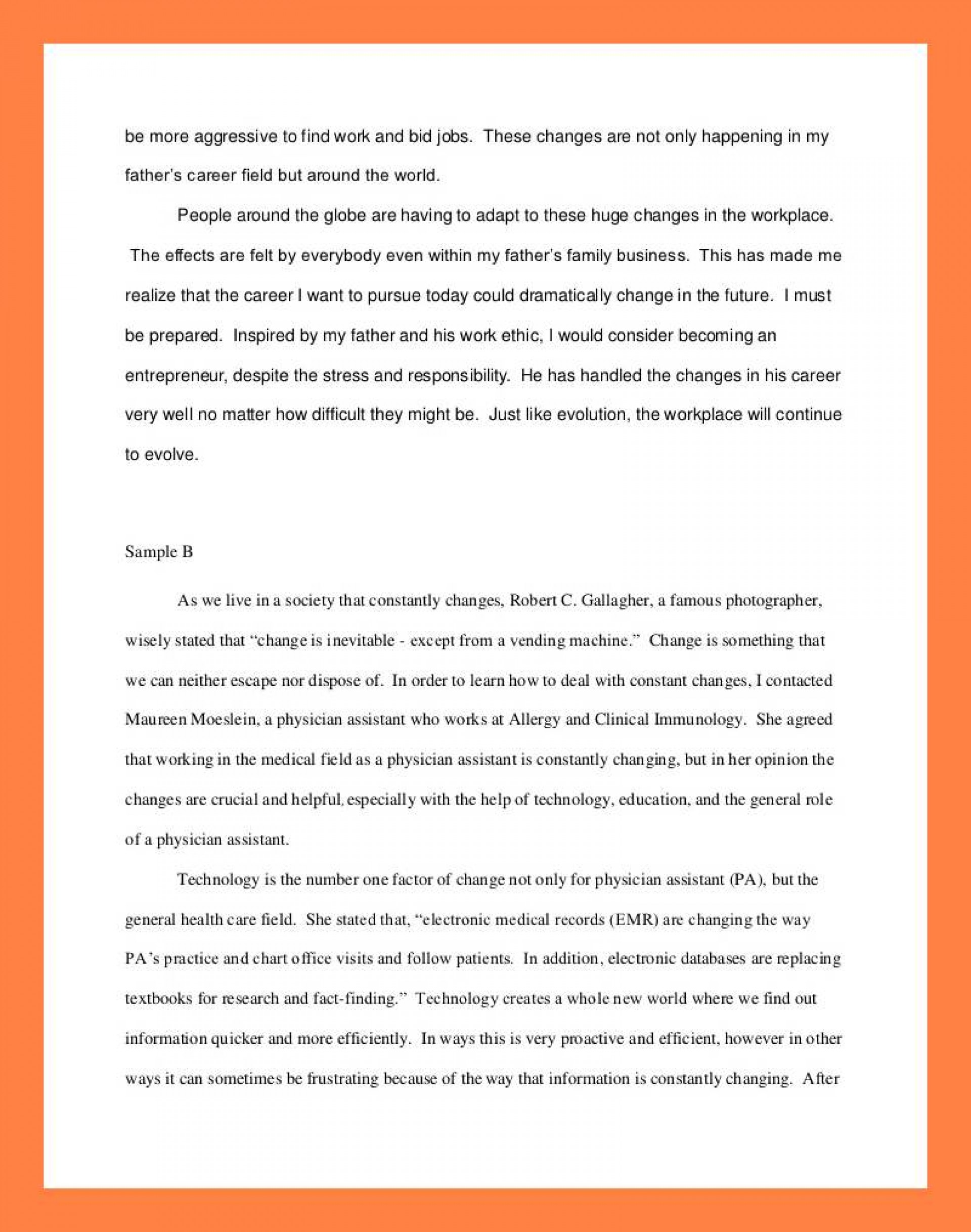 012 Interview Essay Example Examples Of Student Reflections Shocking Introduction Sample Mla Format 1920