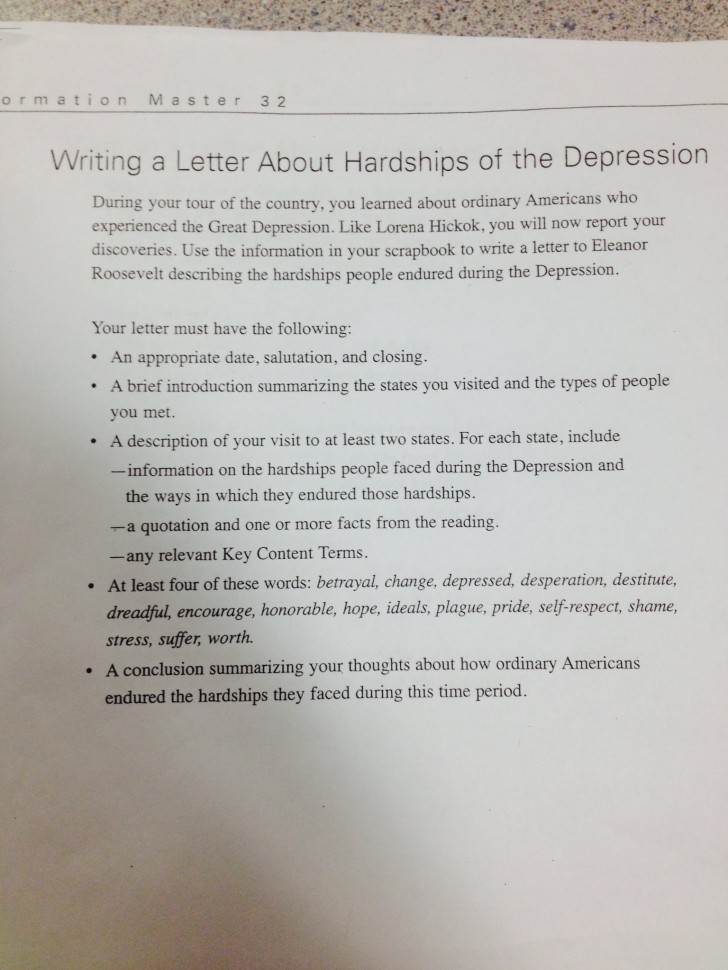 012 Letter Conclusion Of The Great Depression Essay Amazing 728