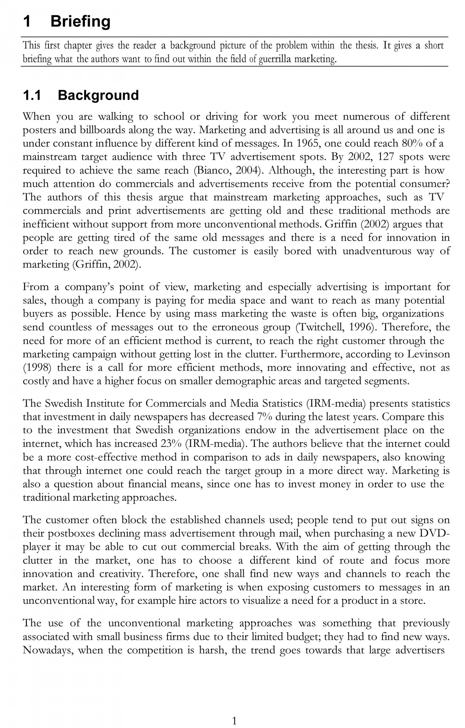 012 Marketing Thesis Free Sample College Essay Generator Amazing Outline Idea 1920