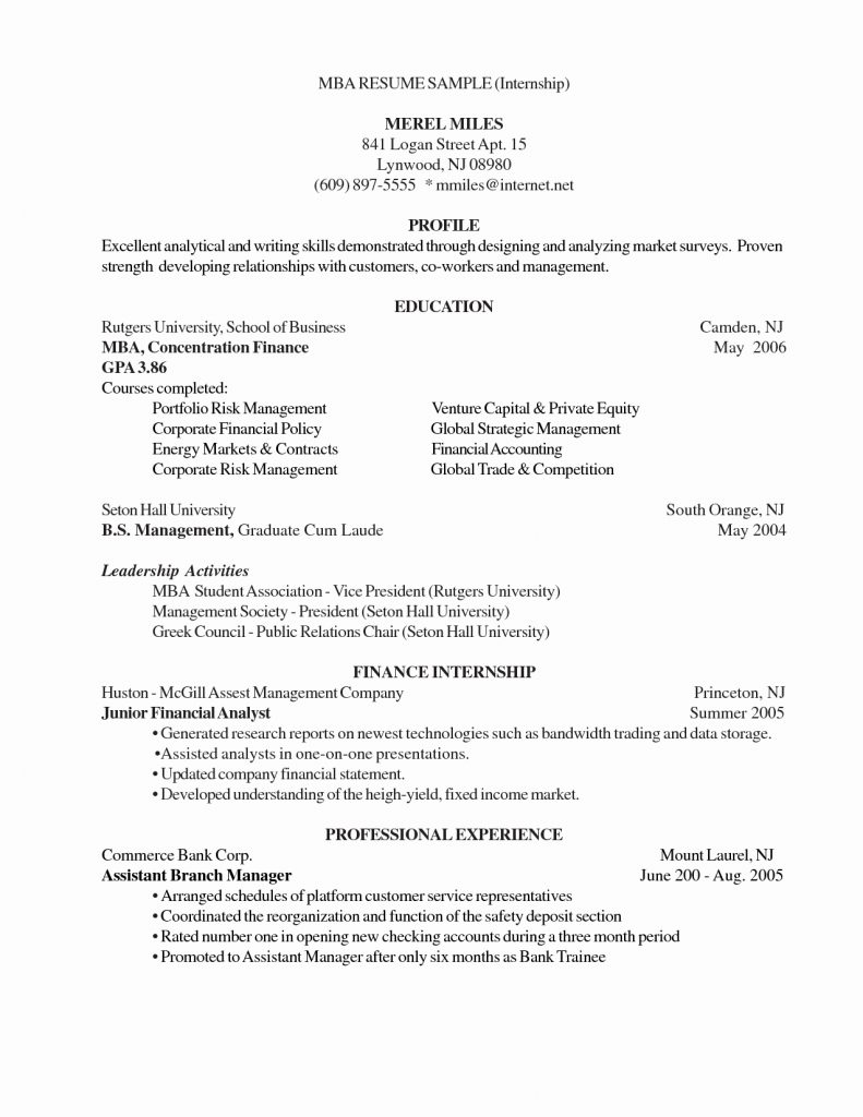 012 Mba Resume Template All Representation Berathen Business