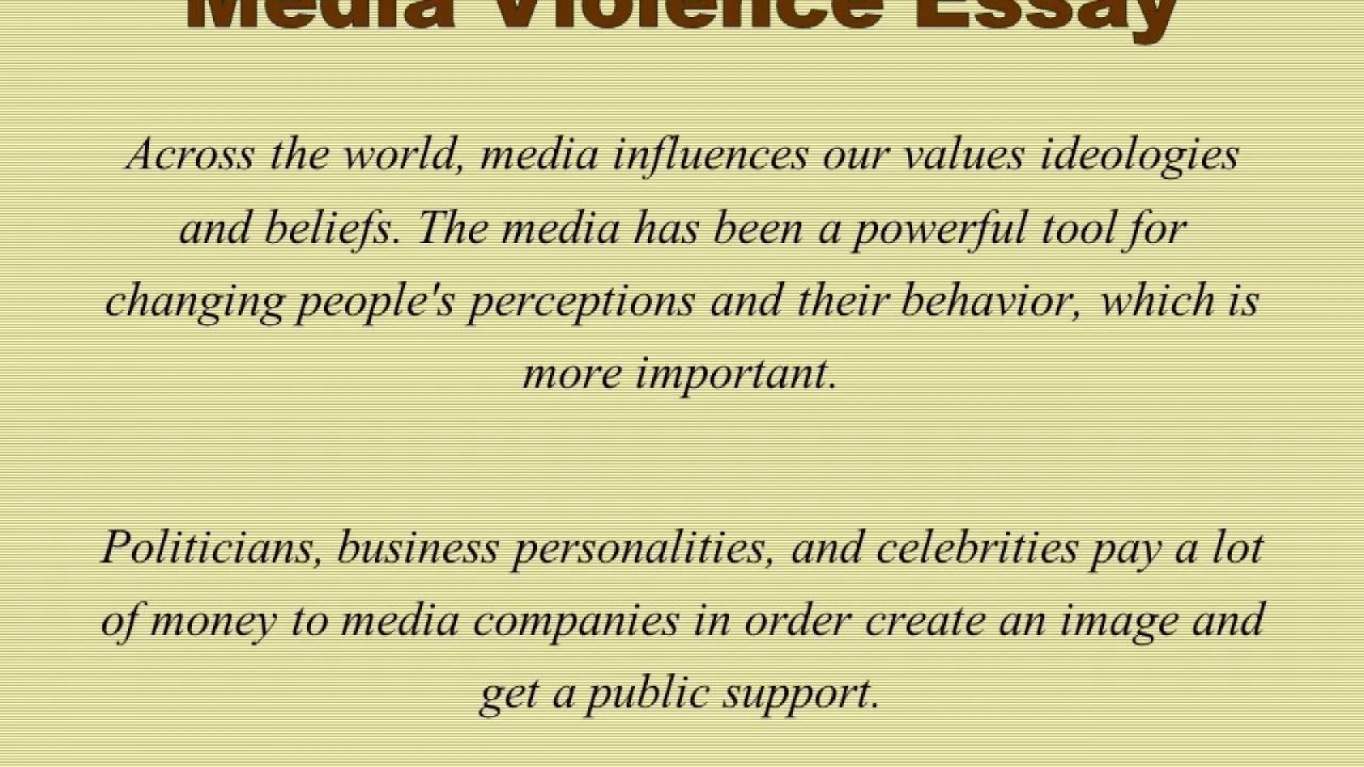 012 Media Violence Essay Example Imposing Television Outline Thesis Statement 1920