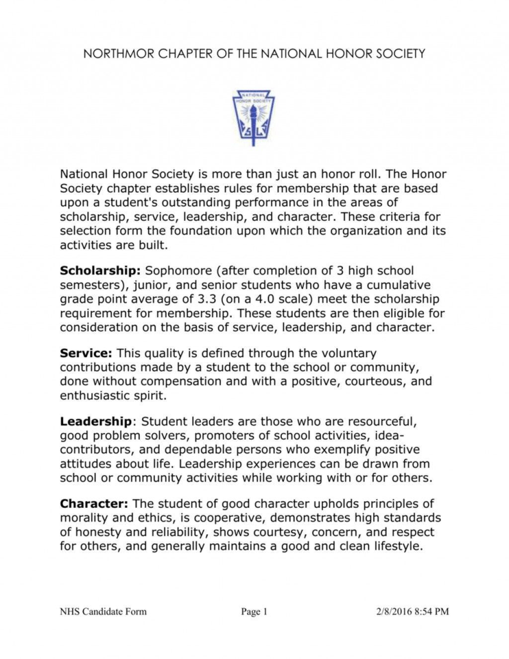 012 National Honor Society Character Essay 006813659 1 Staggering Examples Large