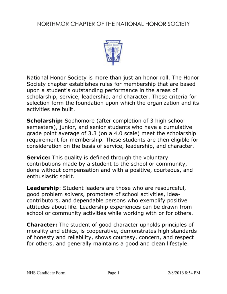 012 National Honor Society Character Essay 006813659 1 Staggering Examples Full