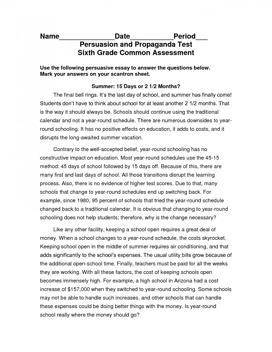 012 Persuasive Essay Samples Example 6th Grade 563810 Awesome For Elementary Students Sample High School Pdf Examples 5th