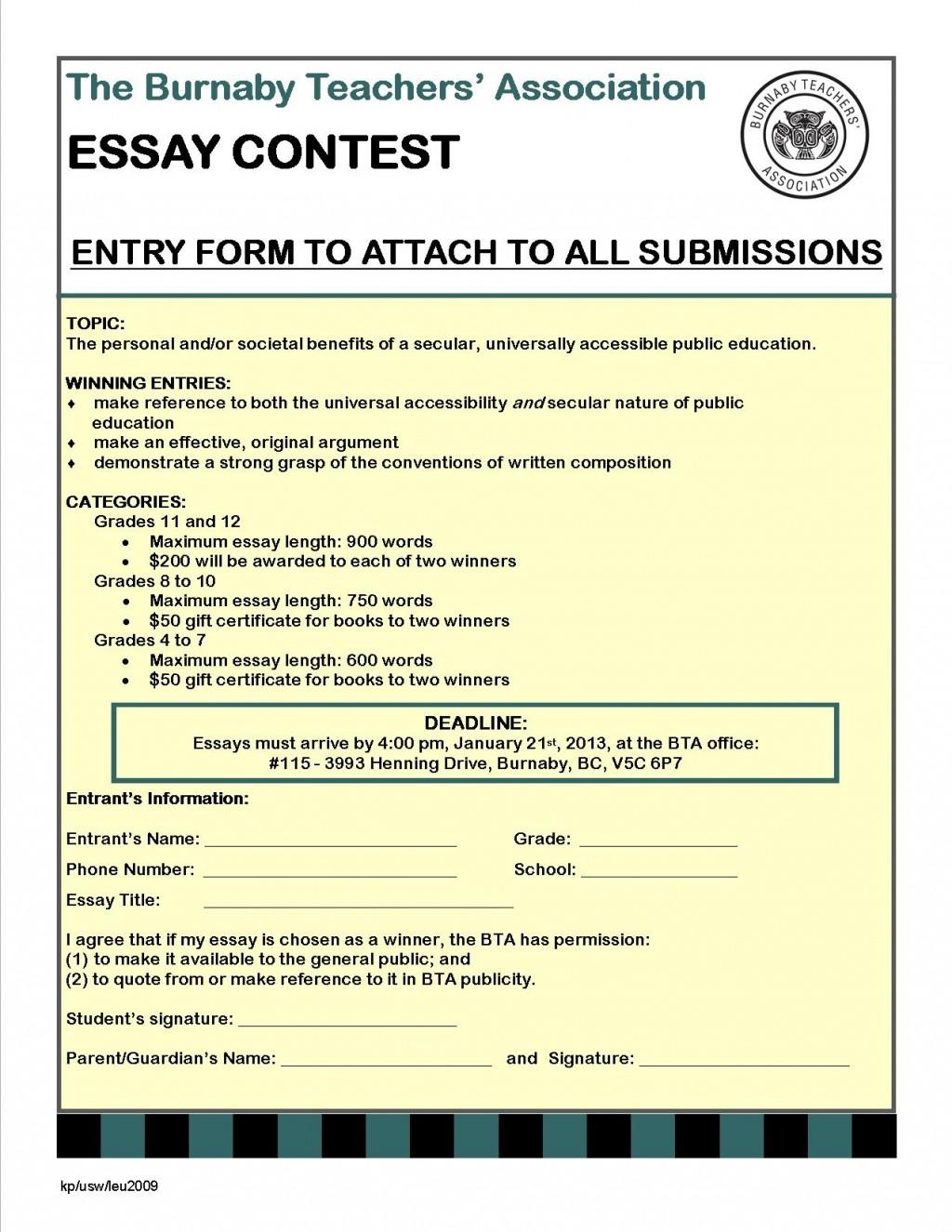 012 Respect Essay To Copy Bta Contest Entry Form Surprising Large