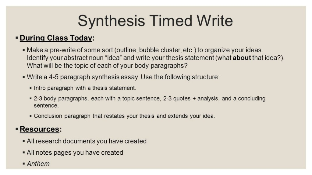 012 Synthesis Essay Outline Anthem Timed Write Day Research How To Sl Do I You For Ap English Lang Conclusion Prompt Thesis Good Introduction Stupendous Layout Large