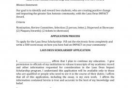 012 Word Essay Laus Deus Scholarship App Rare 200 About Myself Sample