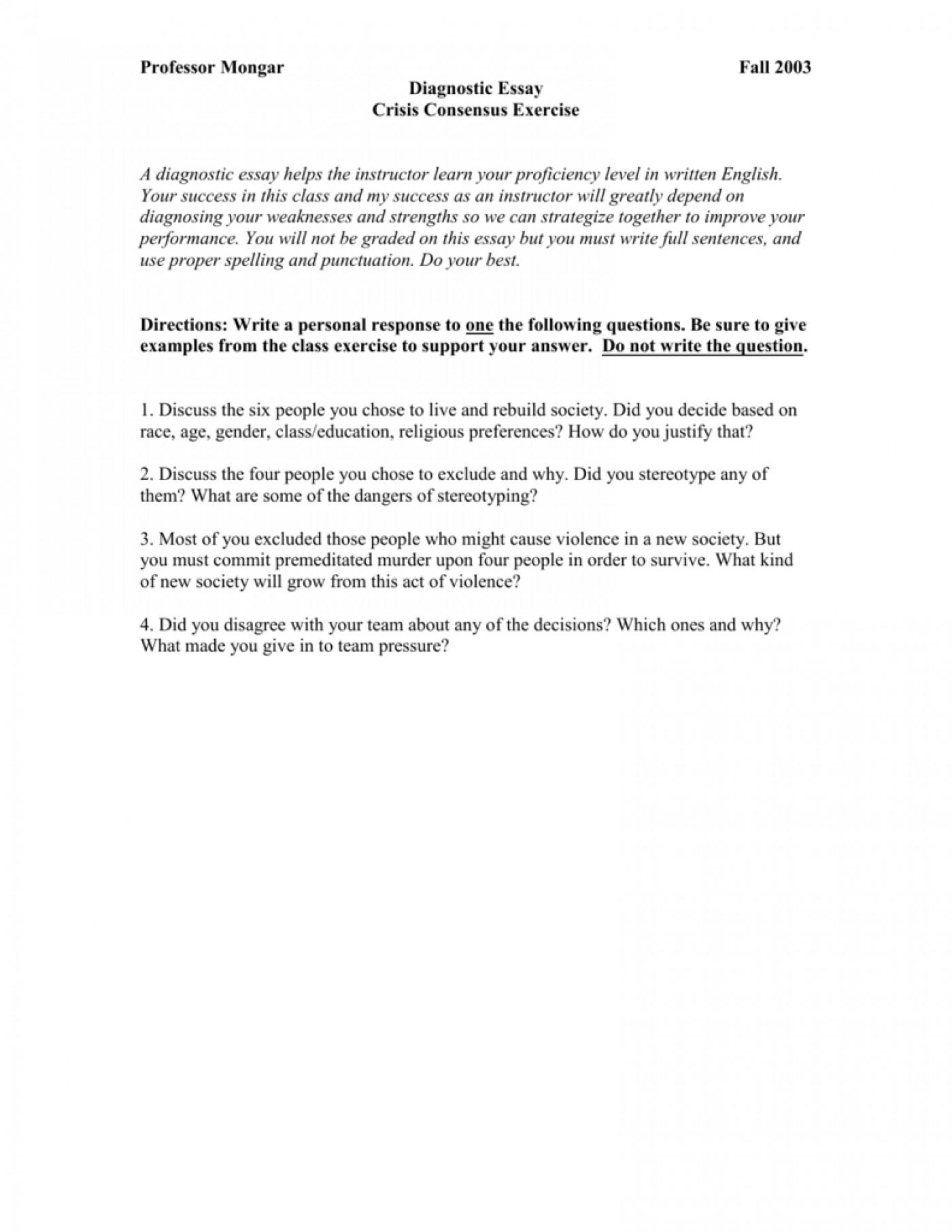 Diagnostic essay sample