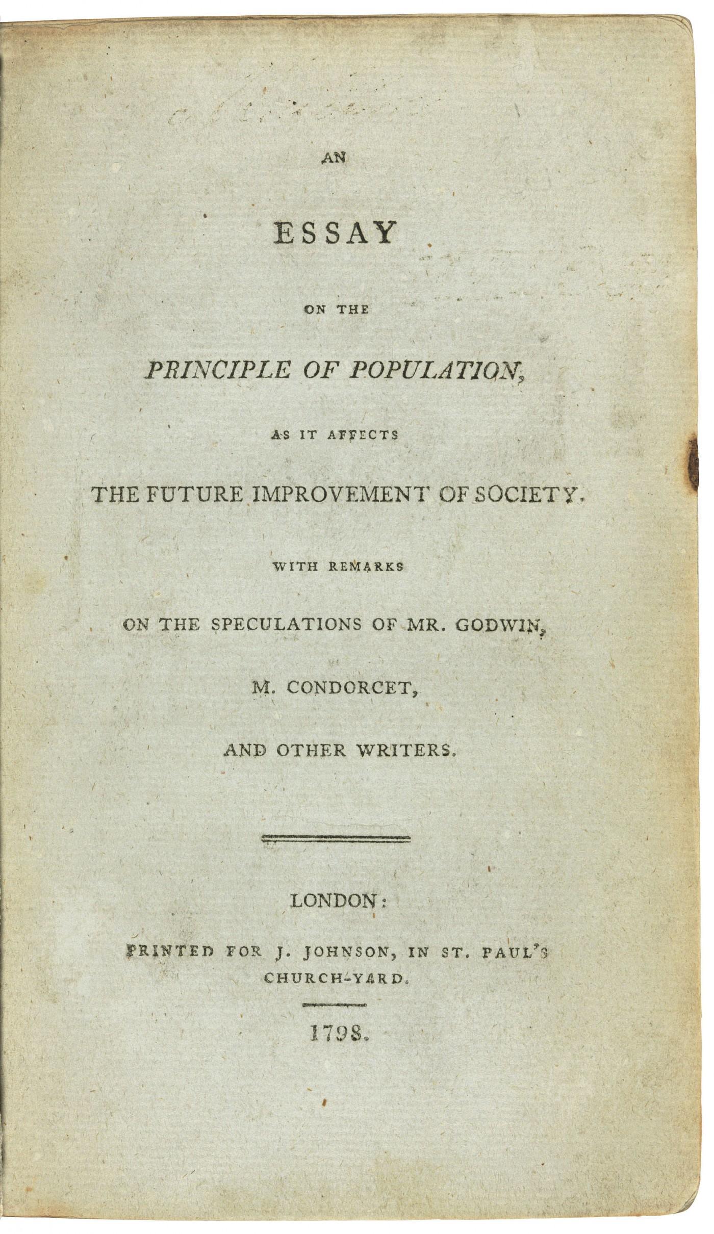 013 2018 Cks 16018 0261 000malthus Thomas Robert An Essay On The Principle Of As It Af Example Singular Population Malthus Sparknotes Main Idea 1400