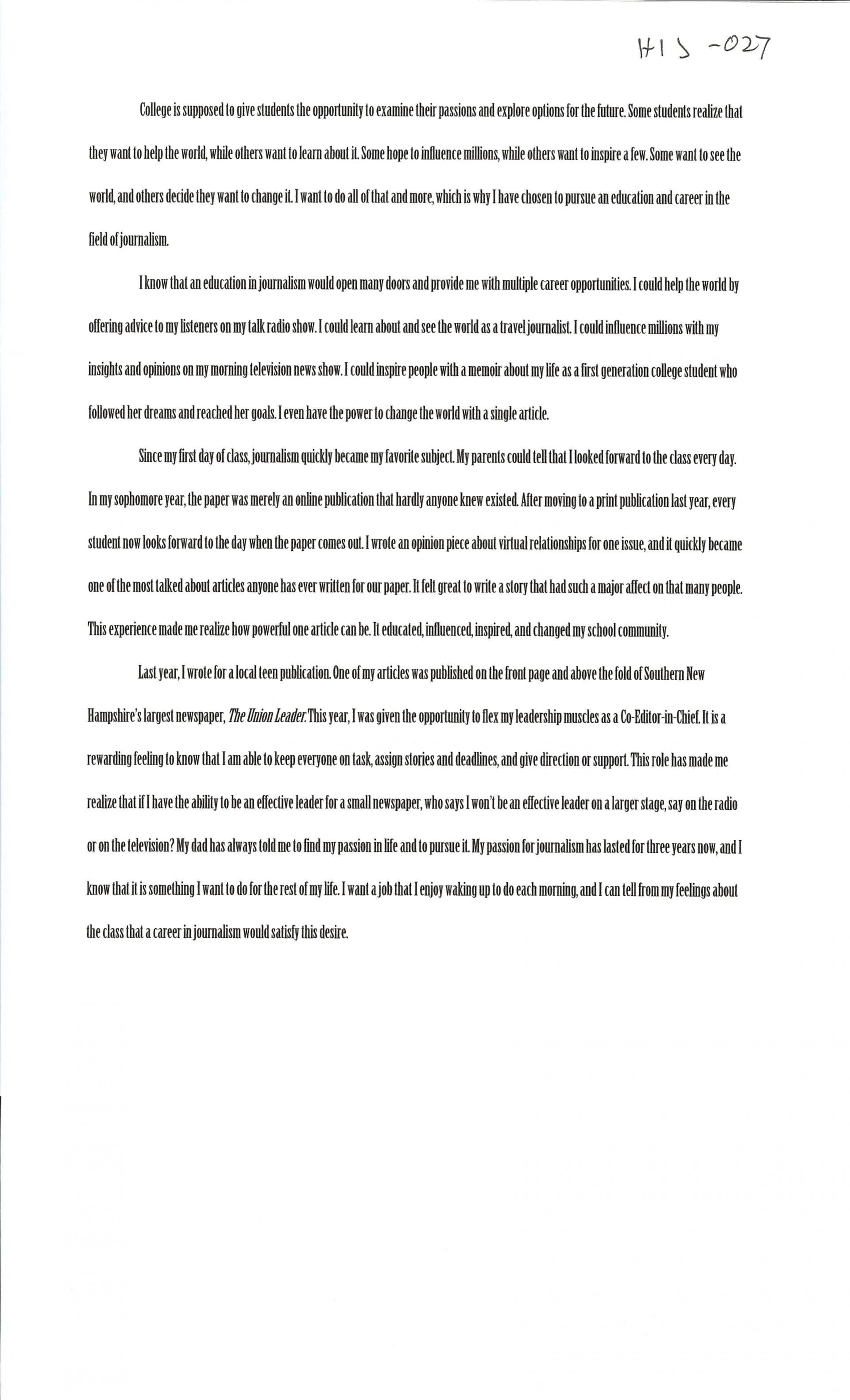 013 Alexa Serrecchia Essays Of Profile Marvelous Examples College Community Company 1920
