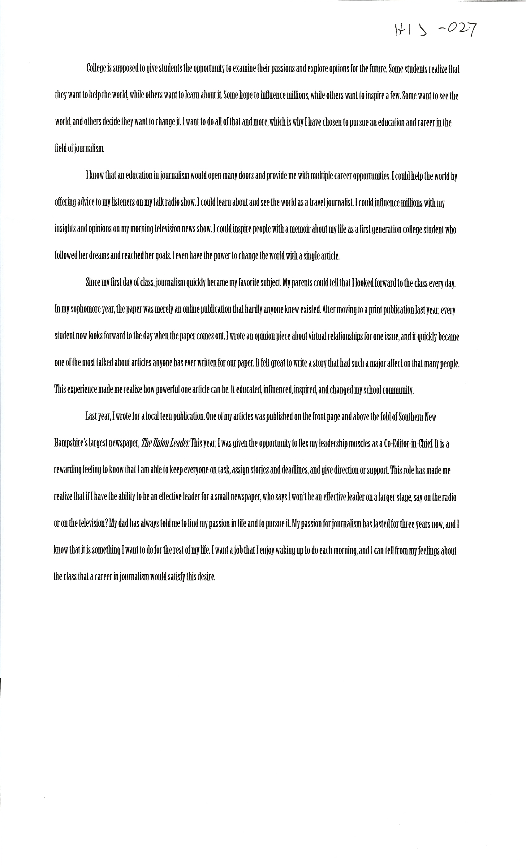 013 Alexa Serrecchia Essays Of Profile Marvelous Examples College Community Company Full