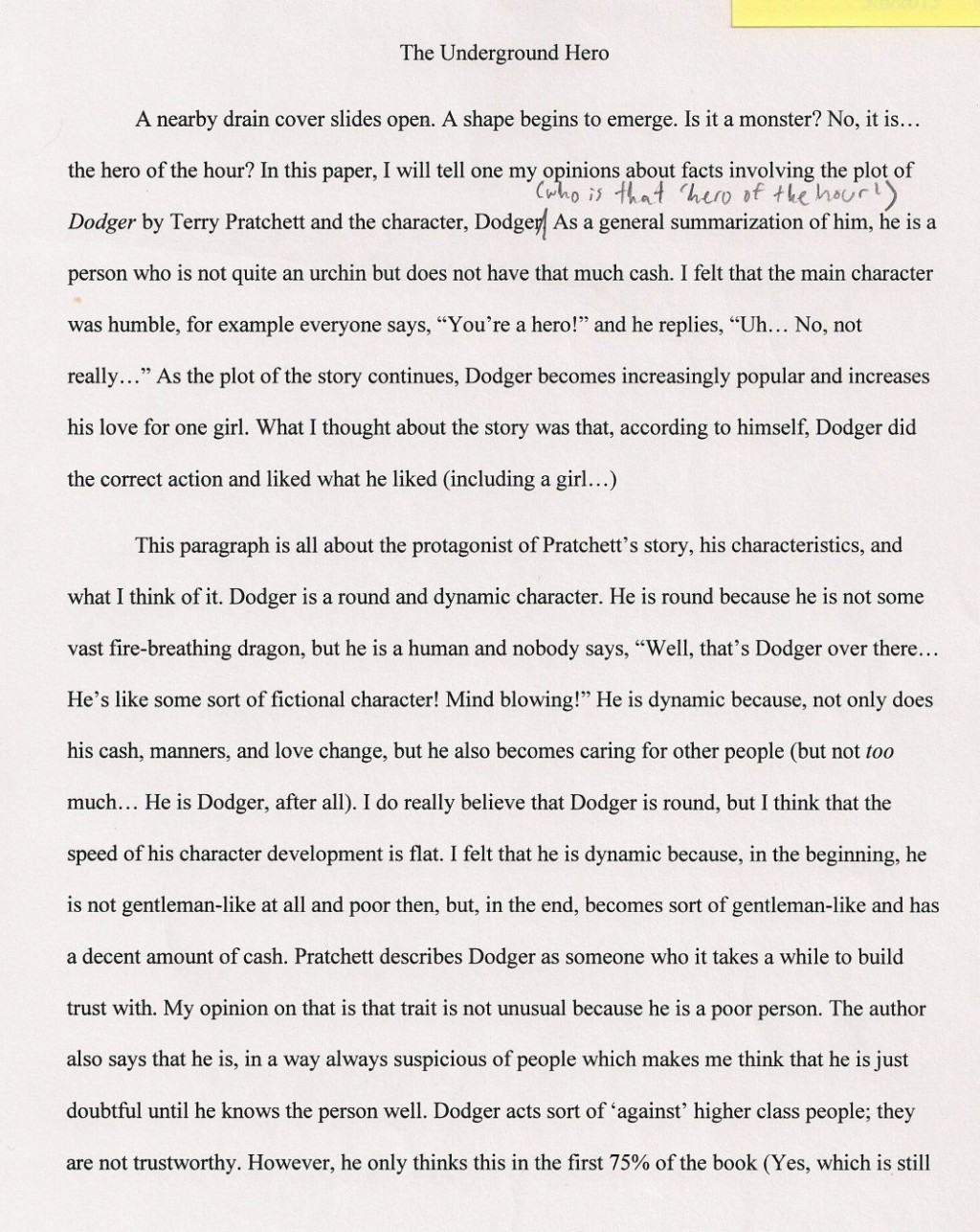 013 An Essay About My Hero Essays On Heroess Good Writing What To Write Argumentative The Undergro Should I 1048x1317 Fascinating Heroine Teacher 500 Words A Narrative Large