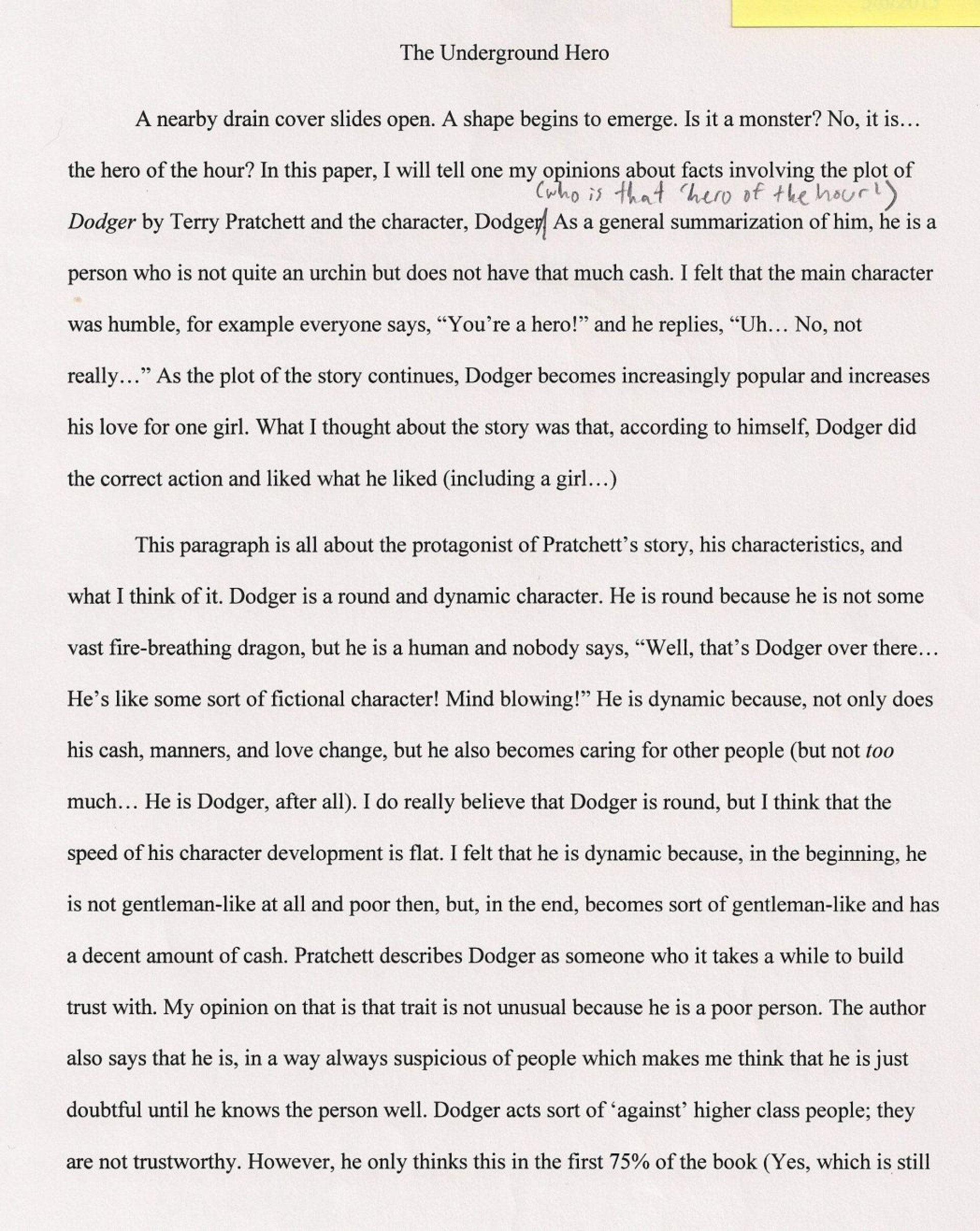 013 An Essay About My Hero Essays On Heroess Good Writing What To Write Argumentative The Undergro Should I 1048x1317 Fascinating Heroine Teacher 500 Words A Narrative 1920