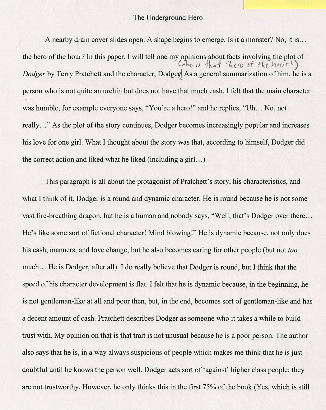 013 An Essay About My Hero Essays On Heroess Good Writing What To Write Argumentative The Undergro Should I 1048x1317 Fascinating Heroine Teacher 500 Words A Narrative Full