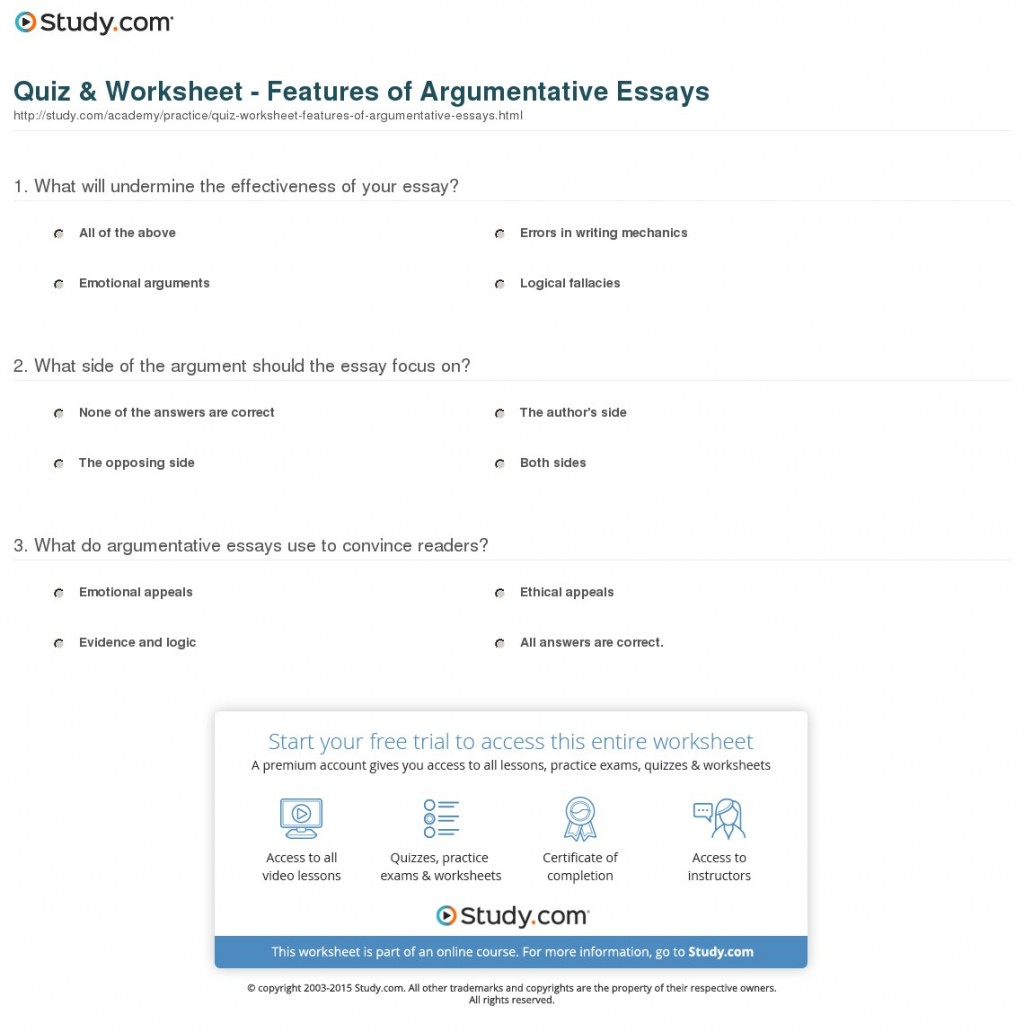 013 Argumentative Essay Structure Quiz Worksheet Features Of Essays Imposing Ppt Pdf Outline Large