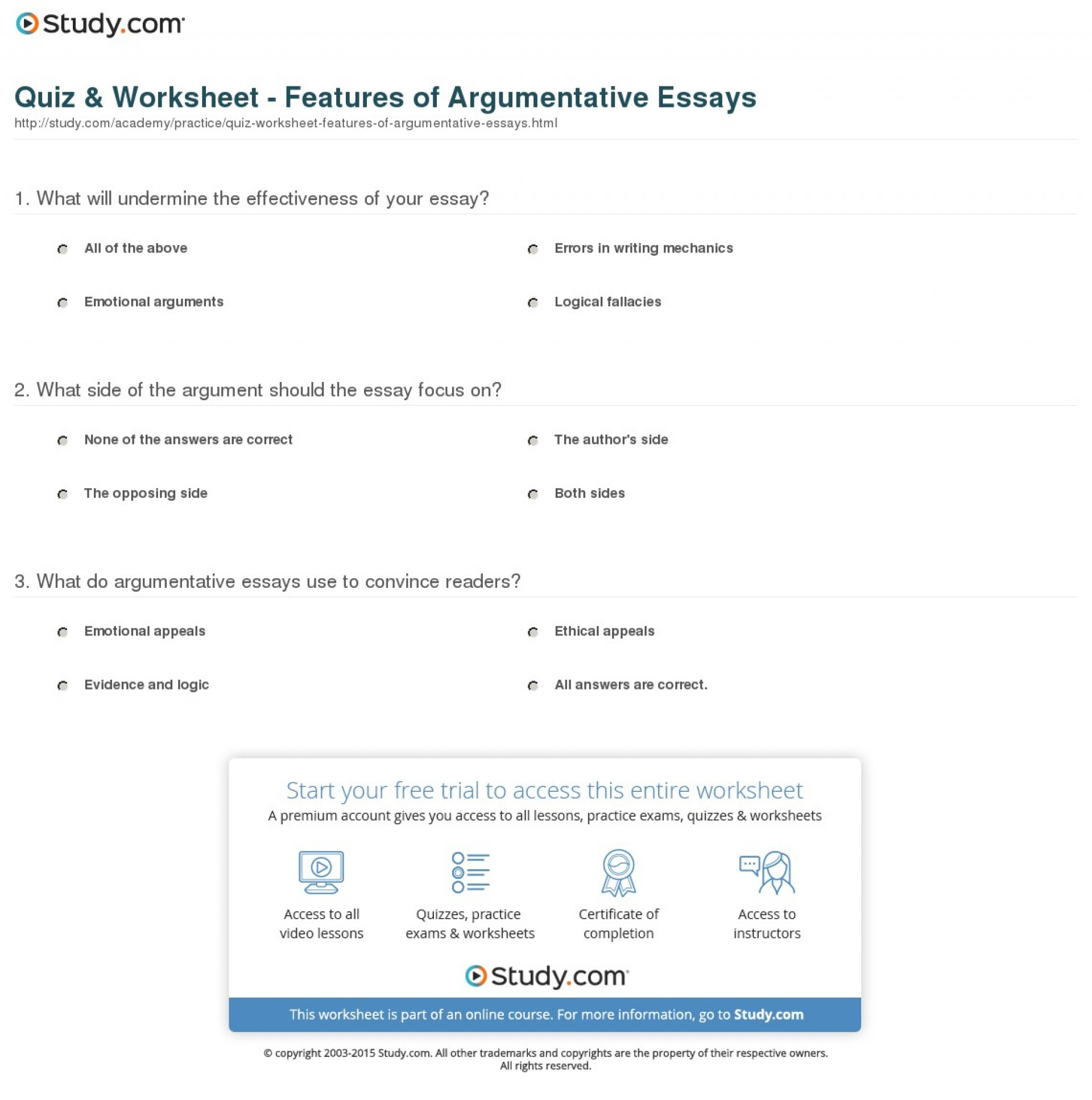 013 Argumentative Essay Structure Quiz Worksheet Features Of Essays Imposing Ppt Pdf Outline 1920