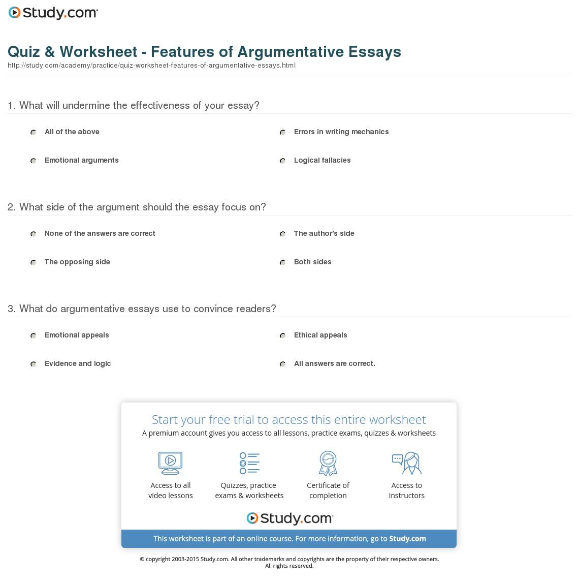 013 Argumentative Essay Structure Quiz Worksheet Features Of Essays Imposing Ppt Pdf Outline Full