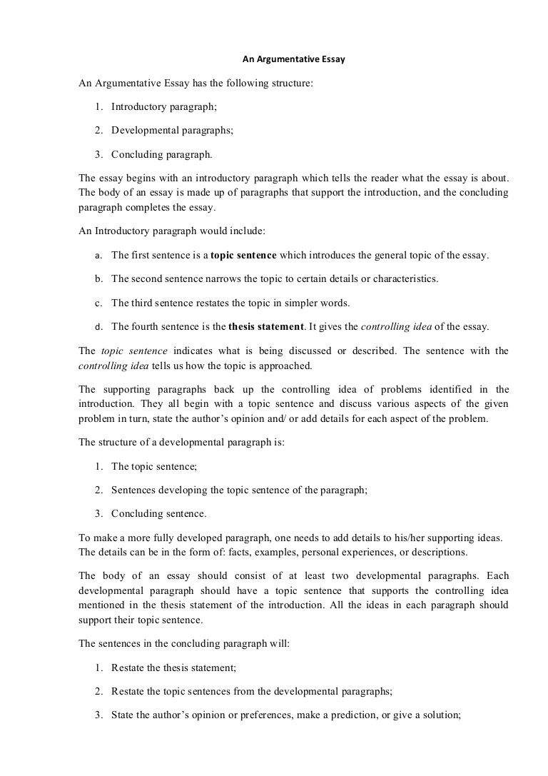 013 Argumentativeessaystructure Phpapp01 Thumbnail Essay Example How To Write An Argumentative Unique Introduction For Pdf Full