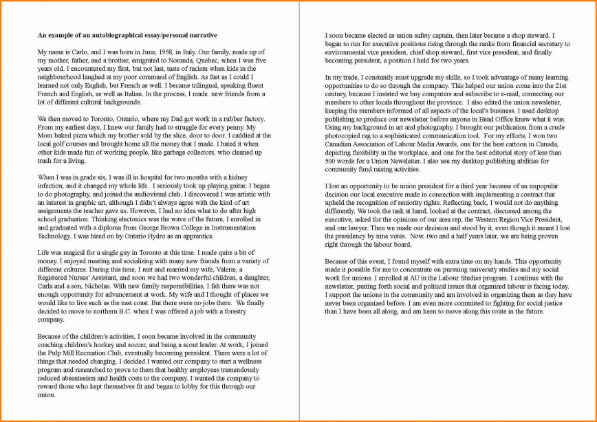 Personal profile essay examples