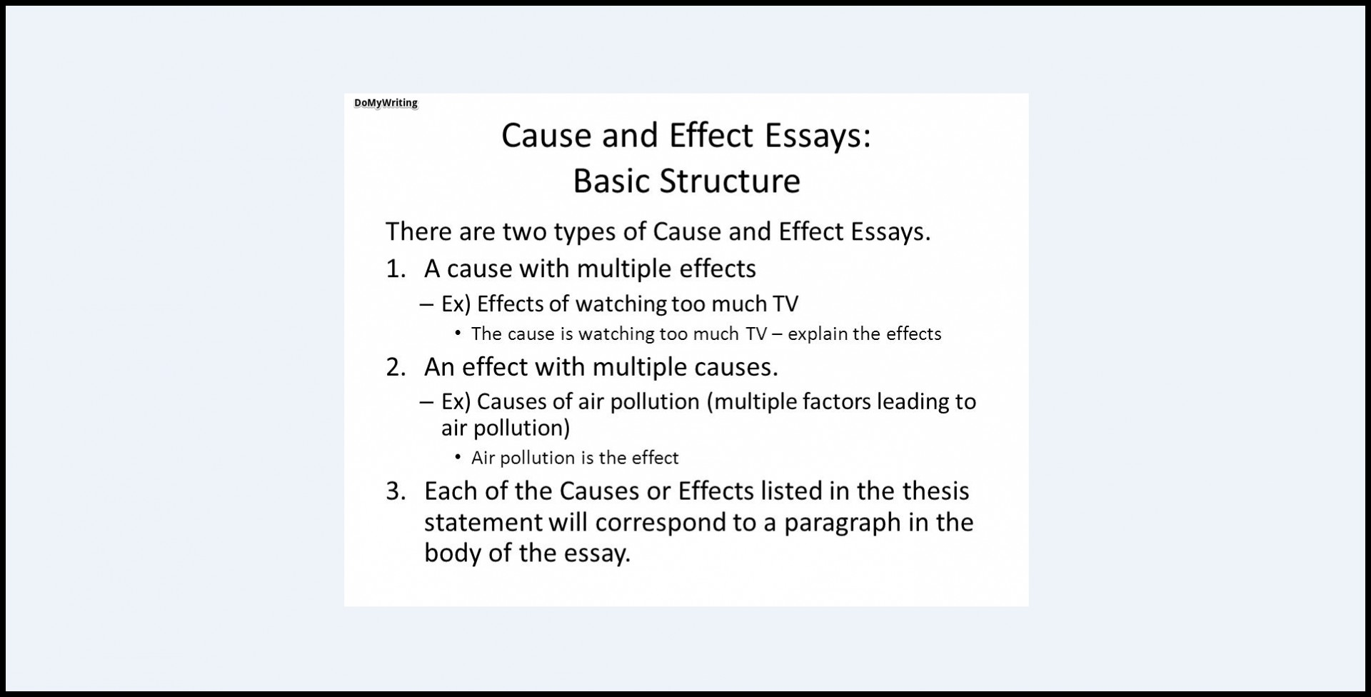 013 Cause And Effect Essay Topics Structure Dreaded Thesis Statement For On Bullying Examples 6th Grade Example Pollution 1920