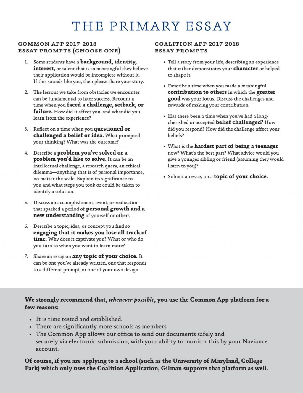 013 Coalition Application Essay Prompts Example Page 4 Frightening Large