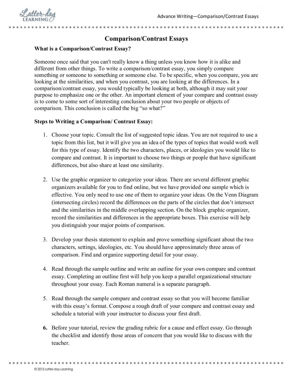 013 Comparison Contrast Essay Example Beautiful Topics Compare And Structure Block Method Pdf Large