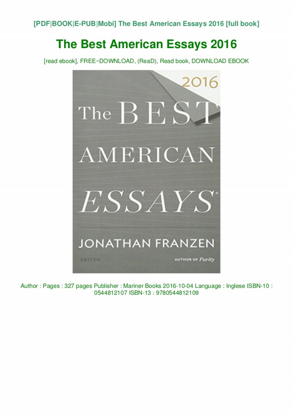 013 Download The Best American Essays Pdf Epub Audiobook Ebook Thumbnail Essay Striking 2017 Table Of Contents Century Large