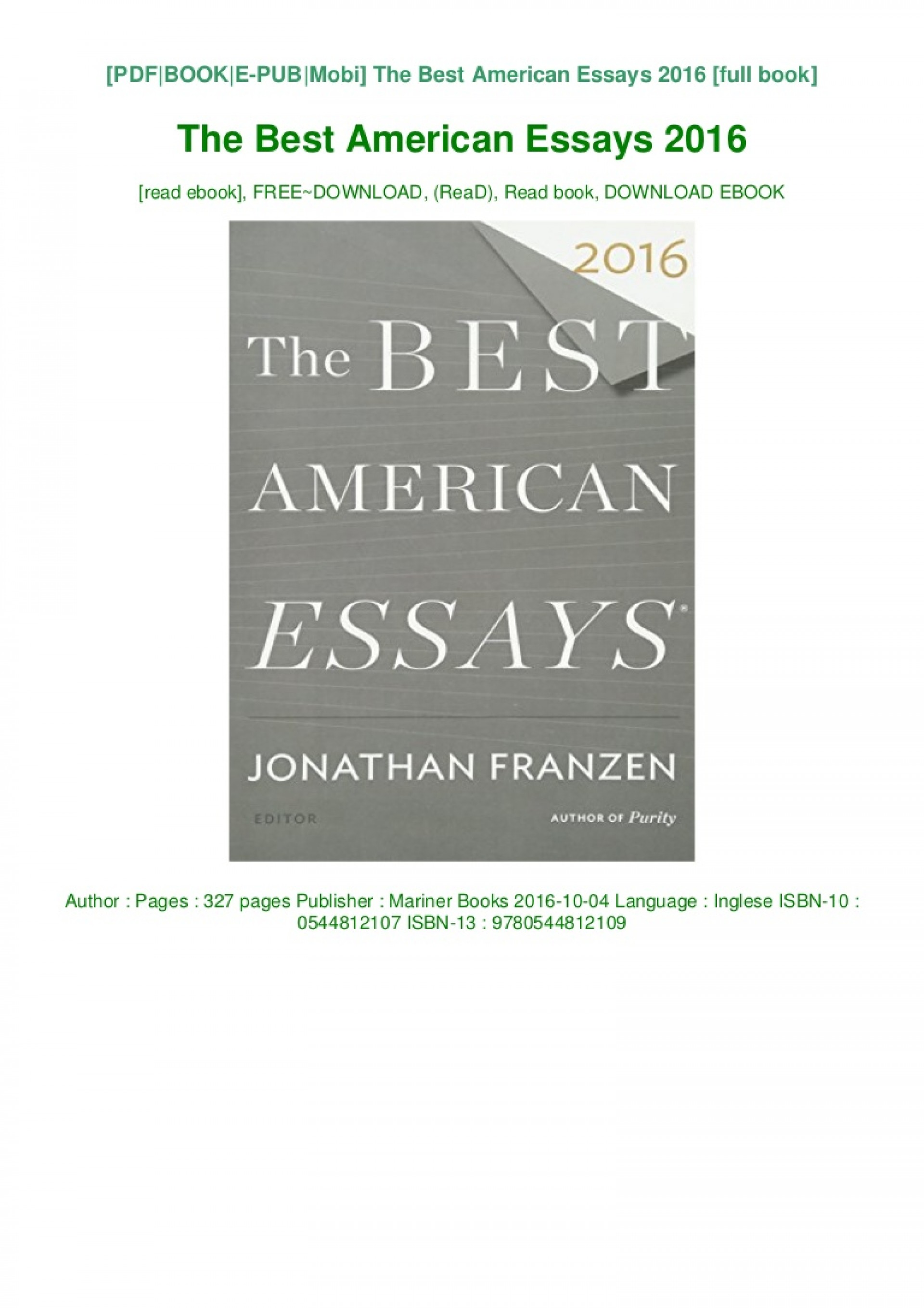 013 Download The Best American Essays Pdf Epub Audiobook Ebook Thumbnail Essay Striking 2017 Table Of Contents Century 1920