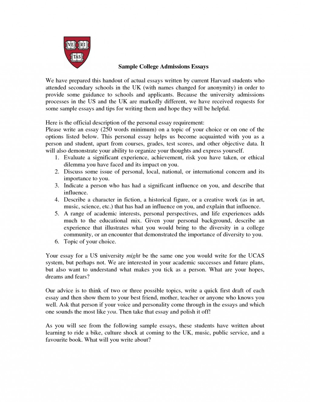 013 Dpy4cpaqnd Essay Example Common App Best Essays Samples Option 1 Prompt 2016 2017 Large