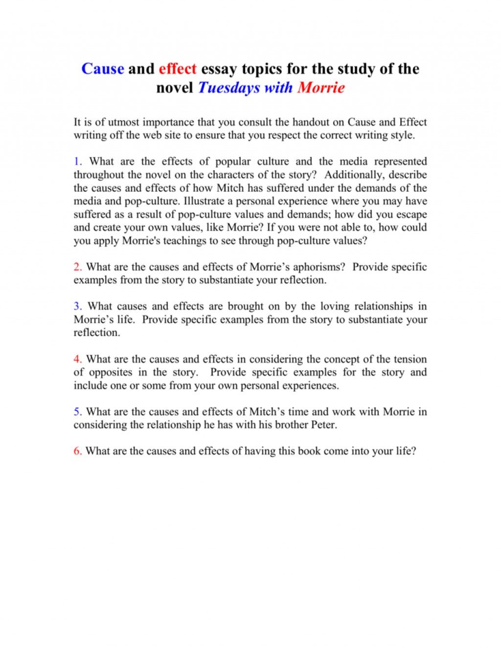 013 Essay Example 008010712 1 Tuesdays With Striking Morrie Topics Writing Prompts Paper Large