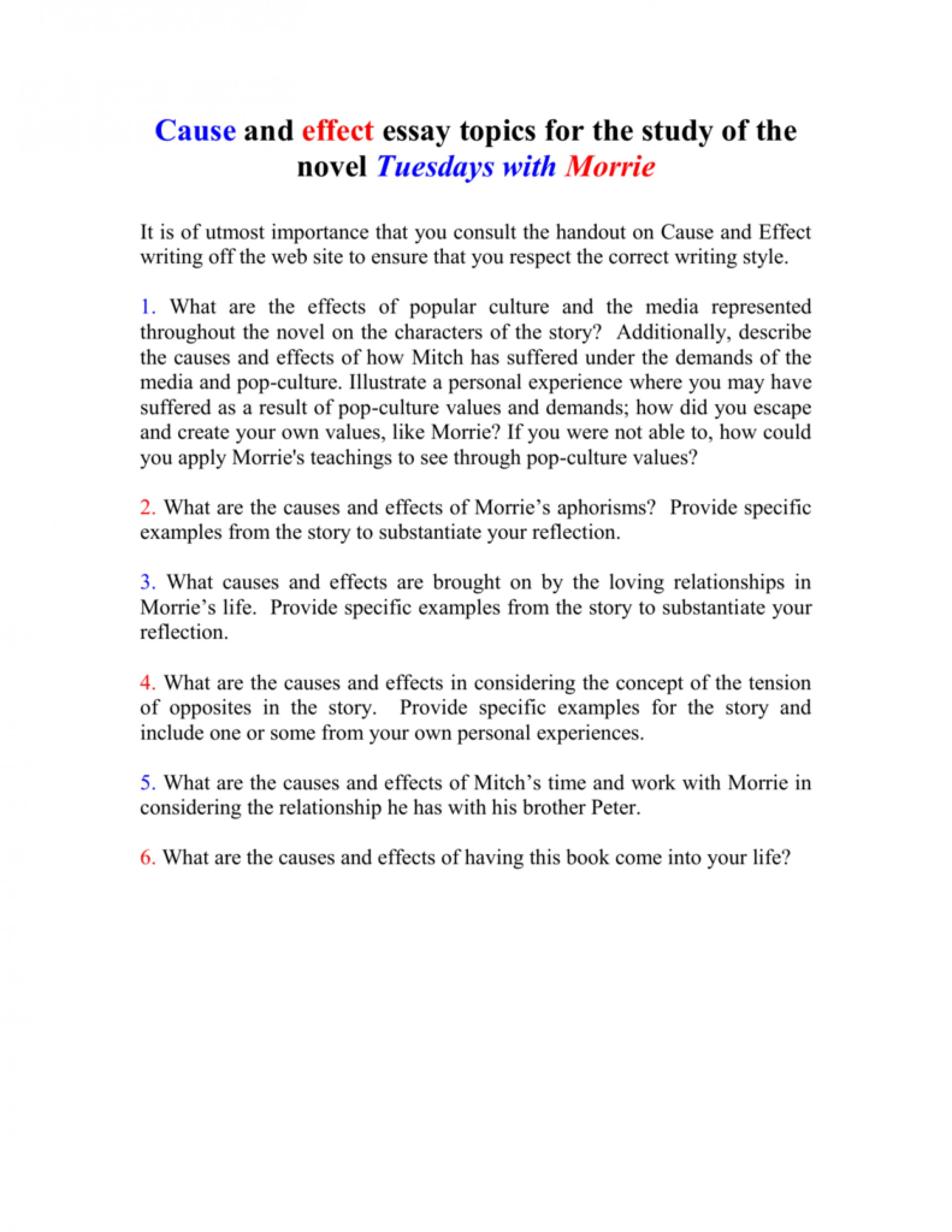 013 Essay Example 008010712 1 Tuesdays With Striking Morrie Topics Writing Prompts Paper 1920