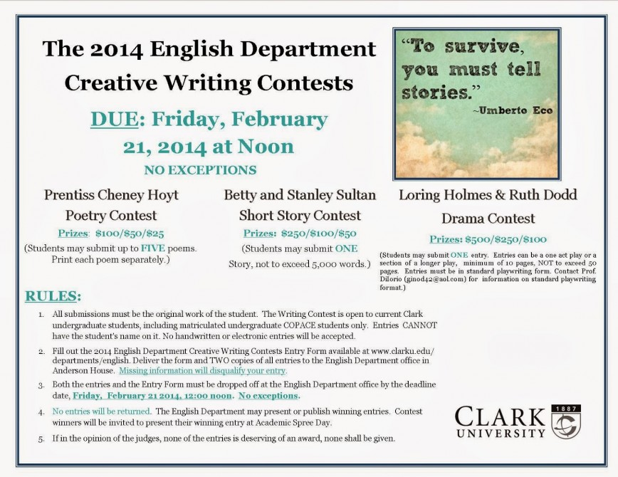 013 Essay Example 201420creative20writing20contest20poster20final Impressive Submissions Photo Npr Press