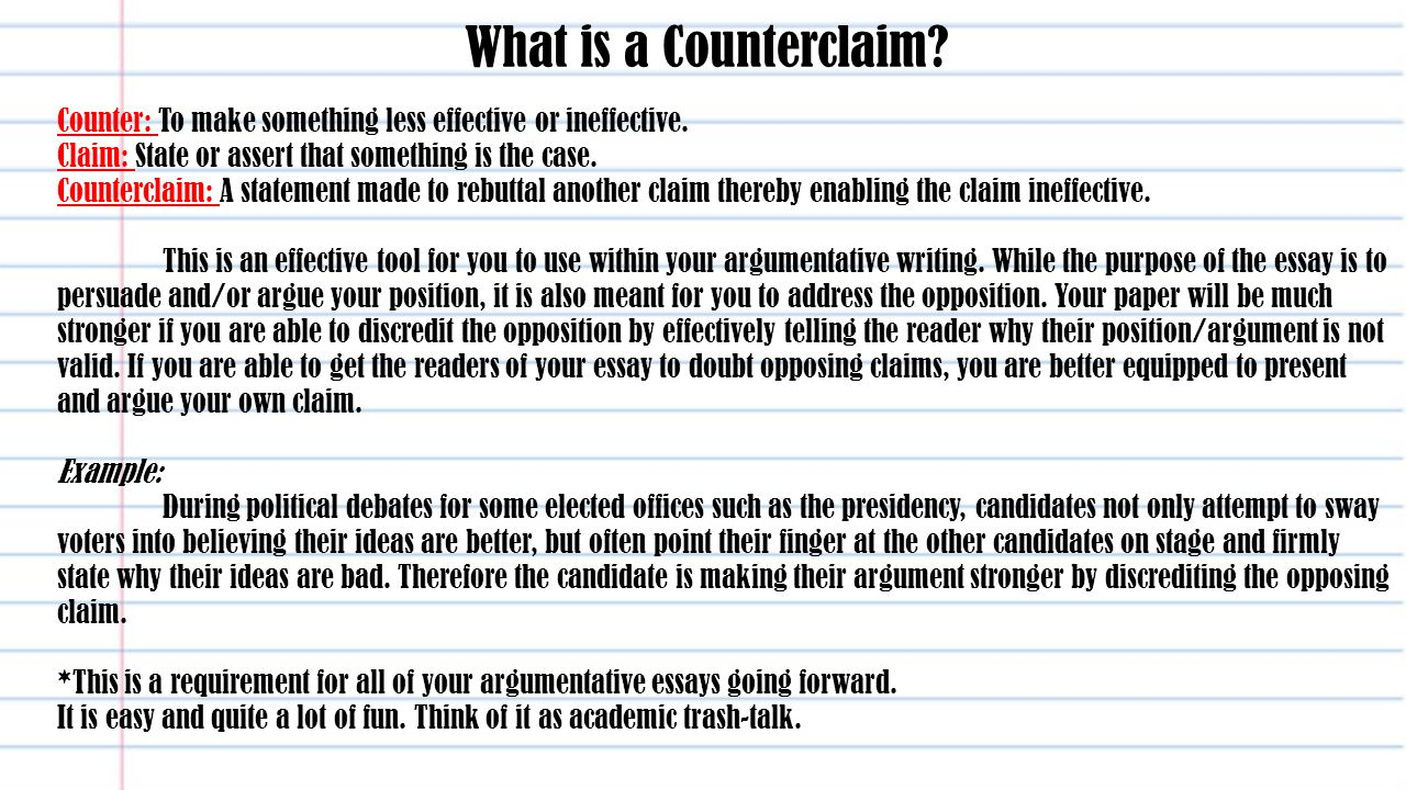 013 Essay Example An Effective Claim For Argumentative Is Whatisacounterclaimcounter3atomakesomethinglesseffectiveorineffective Wondrous Which Statement Of Brainly Quizlet Full