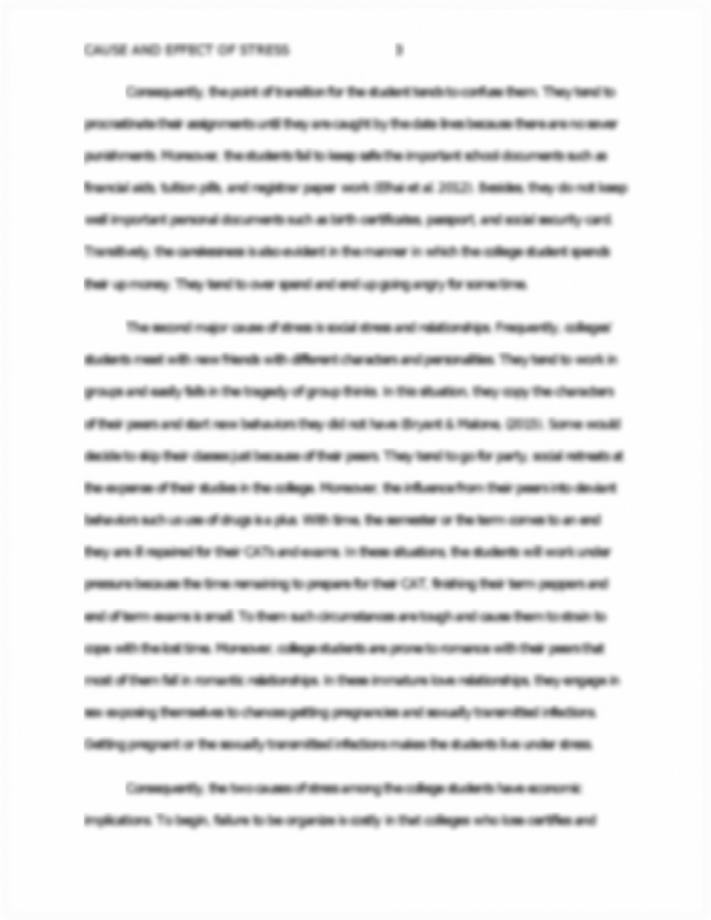 013 Essay Example Causes And Effects Of Stress Cause Effect On P College Students Surprising About 1400