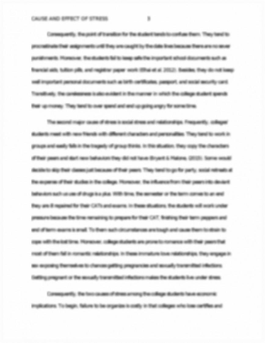 013 Essay Example Causes And Effects Of Stress Cause Effect On P College Students Surprising About 868