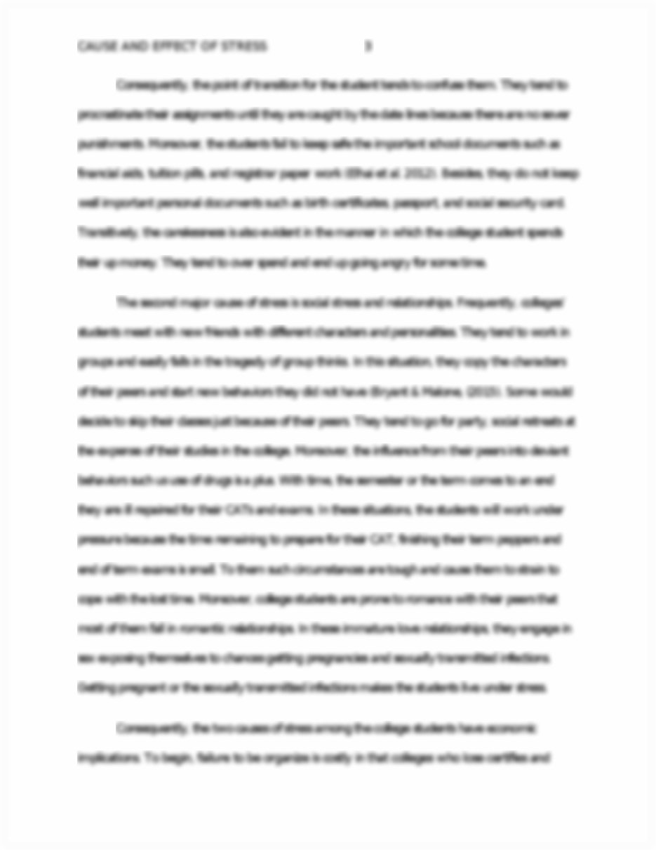 013 Essay Example Causes And Effects Of Stress Cause Effect On P College Students Surprising About Full