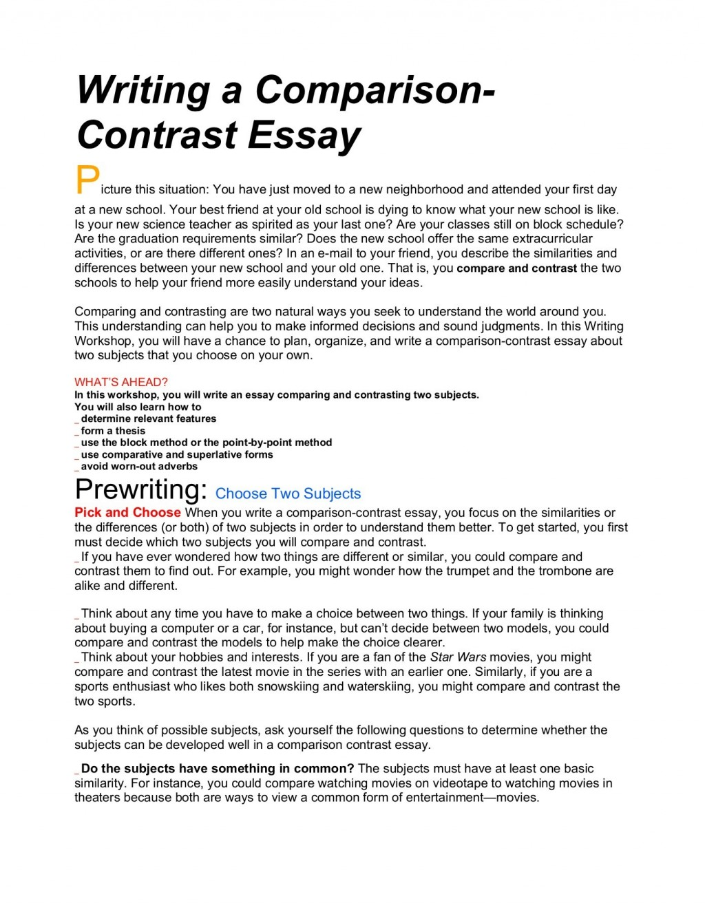 013 Essay Example Compare And Frightening Contrast Topics Outline Doc Sample 4th Grade Large