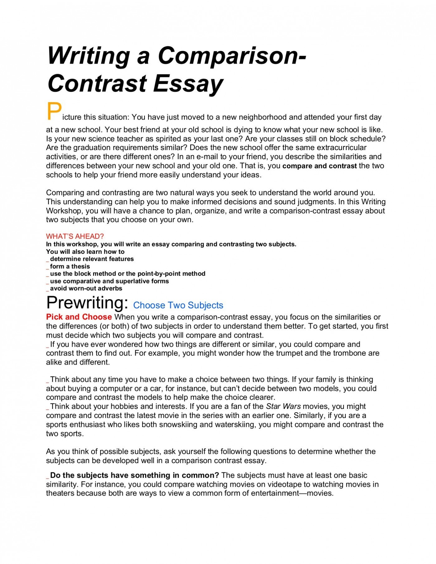 013 Essay Example Compare And Frightening Contrast Topics For College Students Rubric 4th Grade Ideas 7th 1400