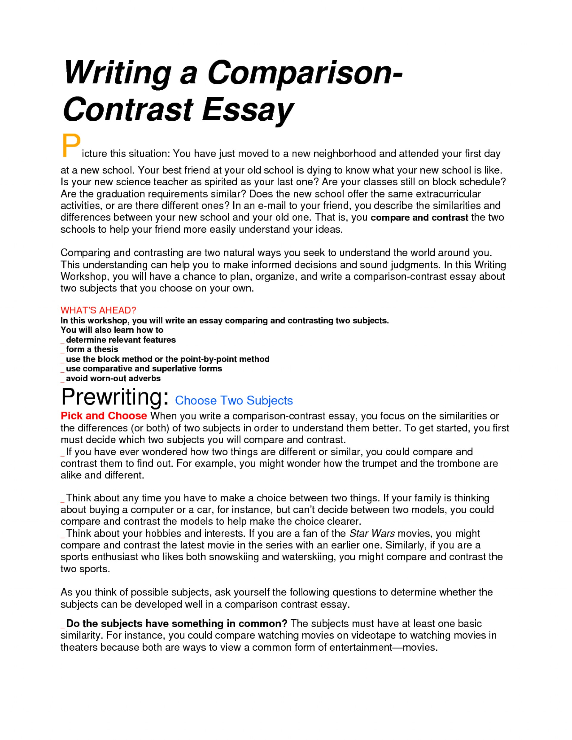 013 Essay Example Compare And Rare Contrast Block Method Sample High School Comparison Examples Middle 1920