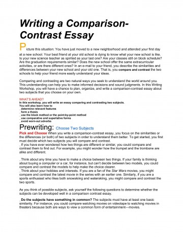 013 Essay Example Compare And Frightening Contrast Topics For College Students Rubric 4th Grade Ideas 7th 360