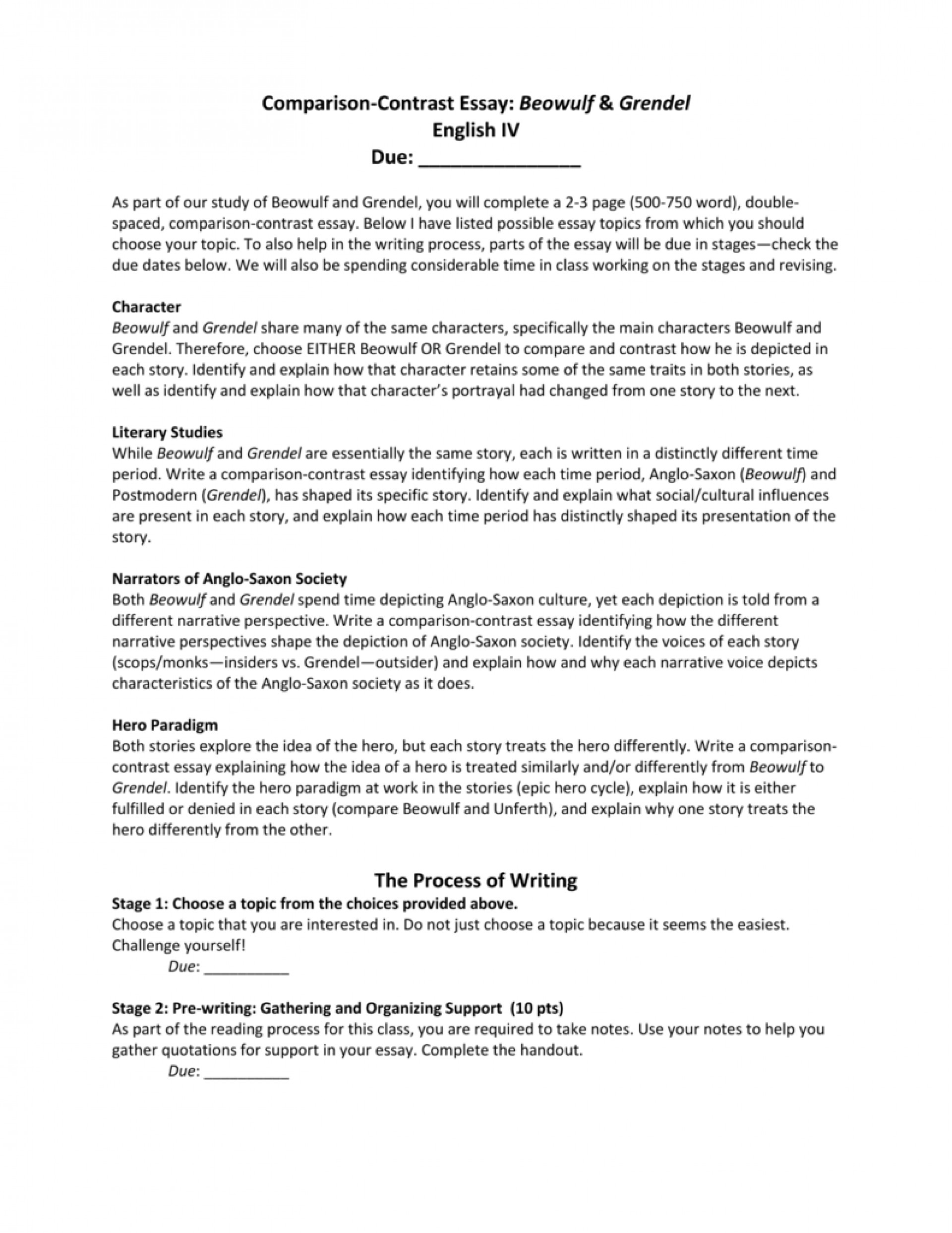 013 Essay Example Compare And Contrast Essays 008061732 1 Awful Free Examples For College Topics Middle School 1920