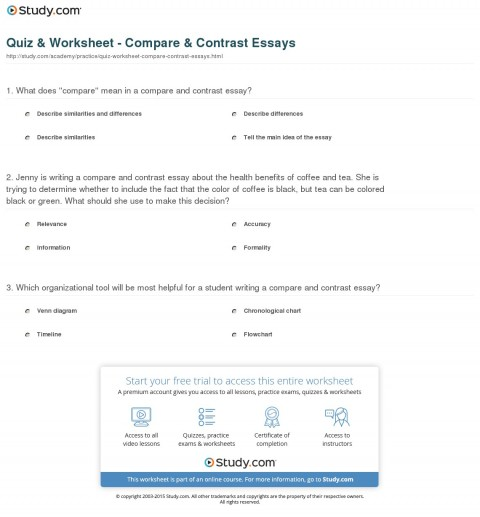 013 Essay Example Compare And Contrast Quiz Worksheet Striking Examples College Level Topics 9th Grade For Students 480